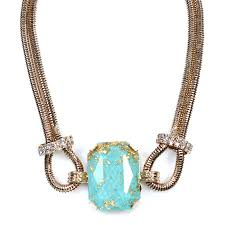 stone turquoise necklace images Eryx 39 turquoise stone faceted handmade gold foils statement necklace jpg