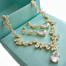 crystal wedding necklace images Gold cubic zirconia bridal jewelry set cz crystal wedding jpg