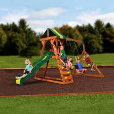 Swing Set For Backyard by Backyard Discovery Madison Cedar Wooden Swing Set Walmart Com