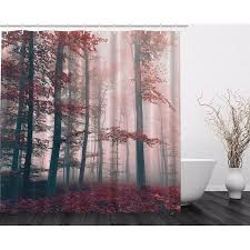 84 Inch Long Shower Curtains Red Gray Mystic Forest Mystical Foggy Decor Shower Curtain Extra