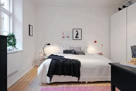Red Table Lamps For Bedroom Frilled Black Blanket Plain White Wall Paint Smooth White Wardrobe