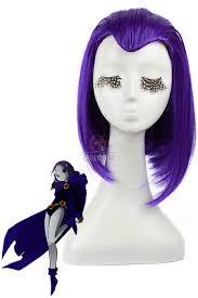 buy 35cm medium purple raven teen titans cosplay wigs