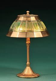 studios linenfold table lamp new york early 20th century