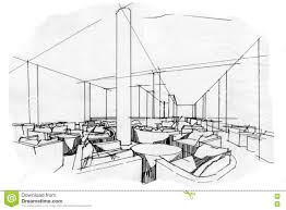Interior Design Furniture Sketches Sketch Perspective Interior Lobby Lounge Black And White