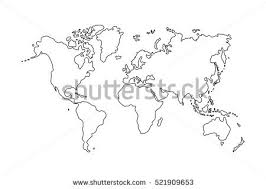 outline of world map outline world map on white background stock vector 521909653
