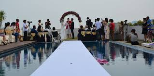 poolside wedding decoration