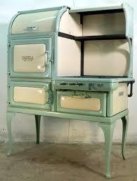 insulated glenwood deluxe retro gas antique cook stove in seafoam