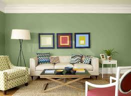 minimalist living room interior decoration with green wall paint