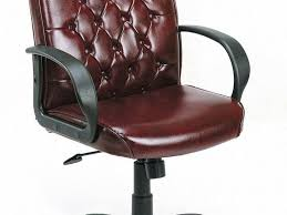 Leather Tufted Chair Office Chair Antique Dark Brown Comfortable Laminated Leather