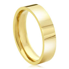 gold wedding band mens accent 14k yellow gold 5mm plain comfort fit flat style