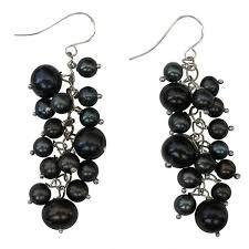 black drop earrings dainty black cluster rice pearl sterling silver drop earrings