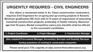 excellence plus construction company jobs 2017 for civil engineers