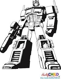 optimus prime standing transformers coloring pages