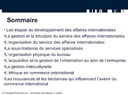 bureau du commerce international la gestion du service international