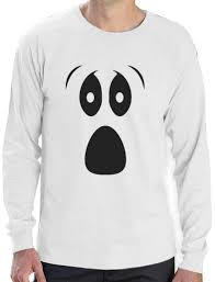 funny ghoul face halloween ghost costume long sleeve t shirt