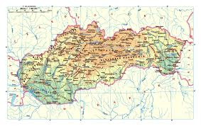 Map Od Detailed Elevation Map Of Slovakia With Roads Cities And Airports