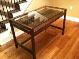 Glass Top Desk Wood Base Http Isrwallet Info Pinterest Glass