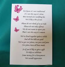 Wedding Gift Cash Money Instead Of Wedding Gifts Poem Lading For