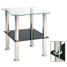 Glass Side Table 2 Tier Glass Side Table With Black Sparkle Undershelf 4416