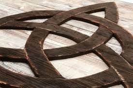recycled wood trinity knot triquetra 3d from reclaimed wood vintage art