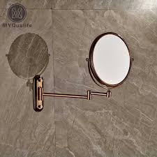 wall mounted extendable mirror bathroom aliexpress com buy rose golden make up magnifying mirror bathroom