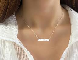 personalized silver bar necklace personalized silver bar necklace custom name necklace