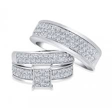 wedding ring set his and hers 10k white gold trio rings set his and rings 2 00ctw diamonds