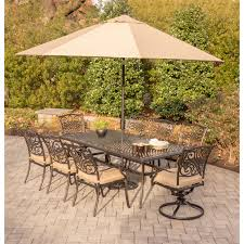 11 Piece Patio Dining Set - traditions 9 piece dining set in tan with extra long cast top