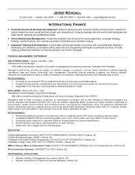 Import Export Resume Sample by Free International Finance Resume Example
