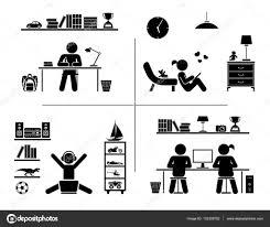 pictogramme chambre jeu d icônes de pictogramme enfants apprennent dans leur chambre