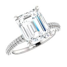 emerald cut solitaire engagement rings 10x8mm 3 carat emerald cut forever brilliant moissanite