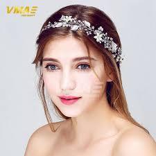 hair wreath handmade stunning rhinestone pearl bridal hair vine floral