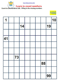 collection of solutions counting to 100 worksheets kindergarten