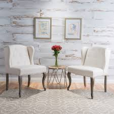 accent table and chairs set niclas wing back studded fabric accent chairs set of 2 by