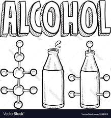 Home Design Doodle Book by Doodle Science Molecule Alcohole Bottle Royalty Free Vector