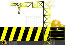 black and yellow ribbon construction concept measure helmet crane and black and