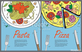vector cooking banner template with pizza and pasta design a menu