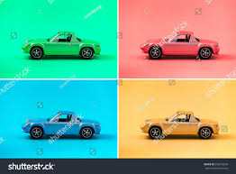 teal blue car colorful collection retro toy car model stock photo 648372838