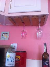 diy wood wine glass rack under mounted on kitchen cabinet design