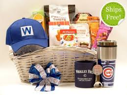 gift baskets free shipping chicago cubs deluxe gift basket with fly the w cap