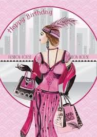 art deco 1920s flapper lady shopping happy birthday glitter