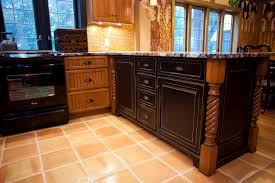 kitchen peninsula cabinet features pennington in cherry rustic