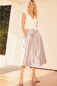 wedding guest dresses uk ruffle top wedding guest dress uk with tea length metallic skirt