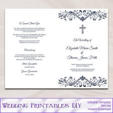 folded wedding program template catholic wedding program template diy navy blue cross ceremony