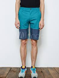 mens light blue shorts british style two tone button fly cotton light sky blue shorts for
