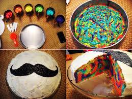 tie dye cake just take any light colored cake batter and separate