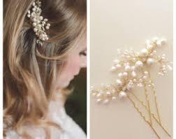 pearl hair pins fern leaves pearl hair pins bridal hair pins flower by amuandpri