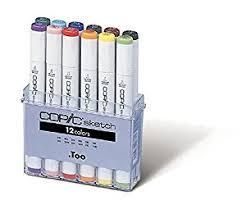 amazon com copic marker 12 piece sketch basic set