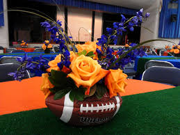 football centerpieces football centerpiece in orange and blue advantage destination