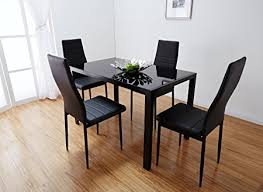 Black Glass Dining Table And 4 Chairs Black Glass Dining Table Set With 4 Faux Leather Chairs Brand New